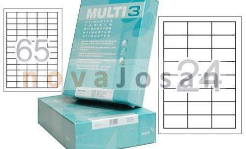 Etiquetas Multi3 en cajas de 500 hojas para comercios e industrias.