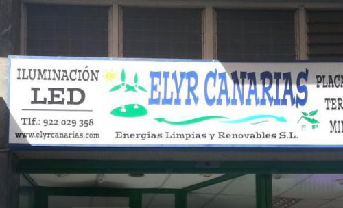 Letrero y tienda de Elyr Canarias