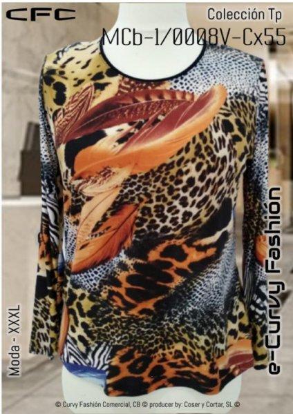 Mod. MBc-1/0008V-Cx55-T/M Blusa recta, formato camiseta estampado, cuello redondo, manga larga. ◙ Cuello/escote: Redondo . ◙ Cintura: Holgada ◙ Largo de manga: Manga larga