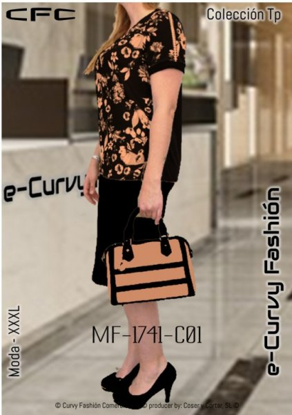 Mod.: MF-1741-C01-T/56 Falda recta clásica, Abertura montada central trasera, bolsillos, largo rodilla ◙ Vuelo: Recto. ◙ Bolsillos: en diagonal. ◙ Largo : Altura rodilla.