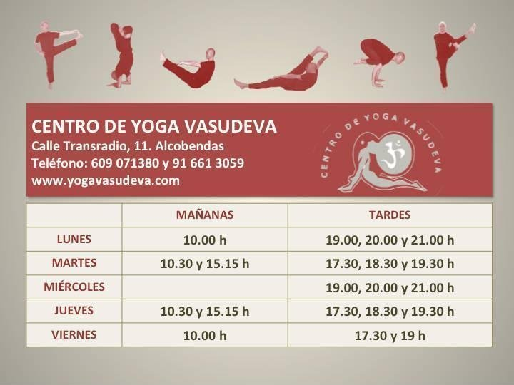 Horario clases de Yoga Vasudeva