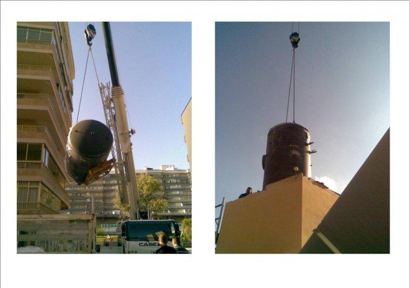 Sustitución de acumulador de 5000L en tejado edificio