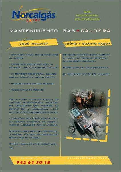 Mantenimiento gas+caldera Norcalgás Solar-Qué incluye