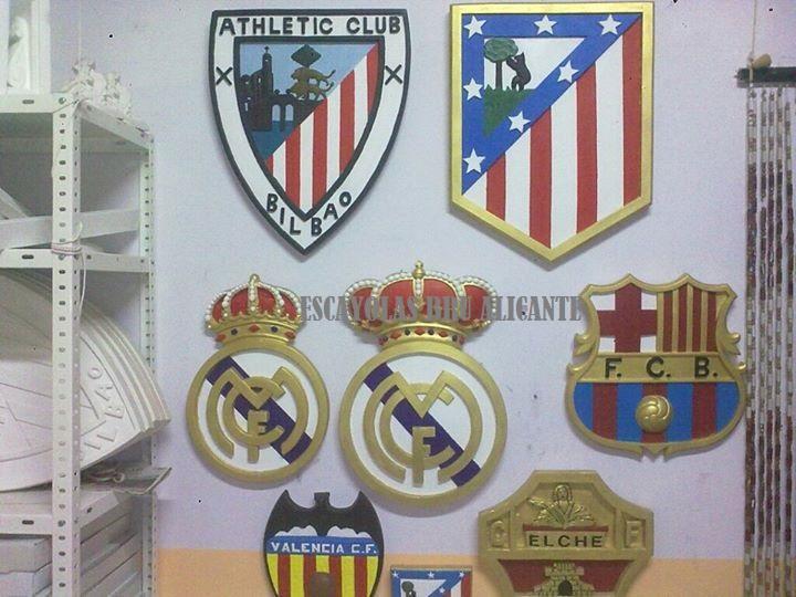 escudos de escayola de equipos de futbol