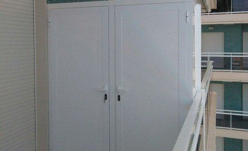 Armario para balcón en aluminio blanco