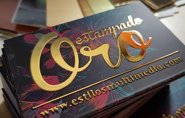 Ejemplo de impresión de Tarjeta de Visita con acabado metalizado Oro