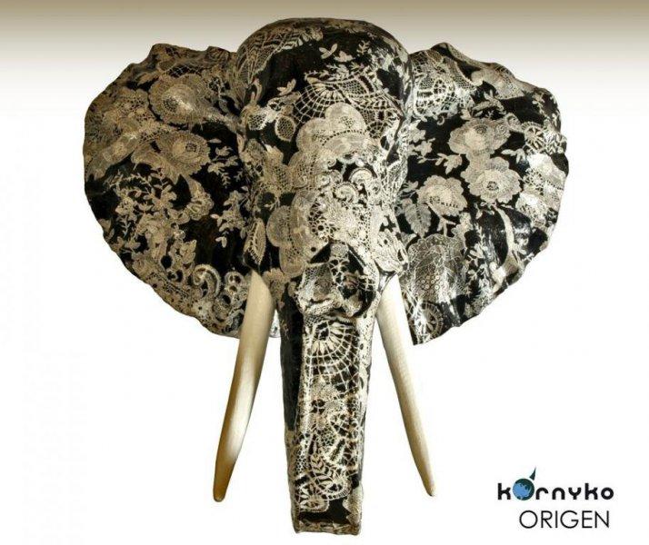 Cabeza elefante decorativa Origen