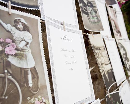 Distribución de las mesas con fotos