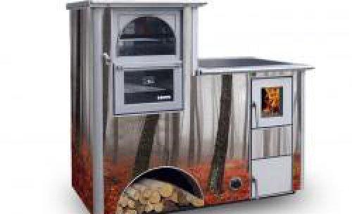 Cocina de leña calefactable. Acabado cristal personalizado.