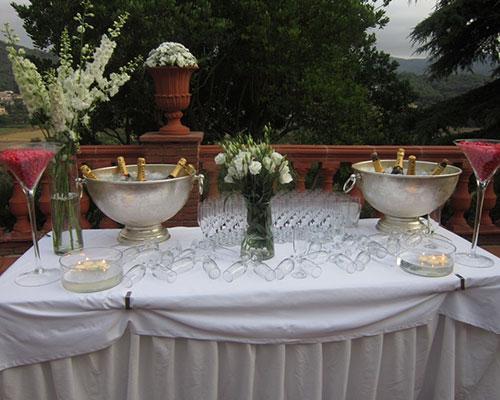 Mesa con champan