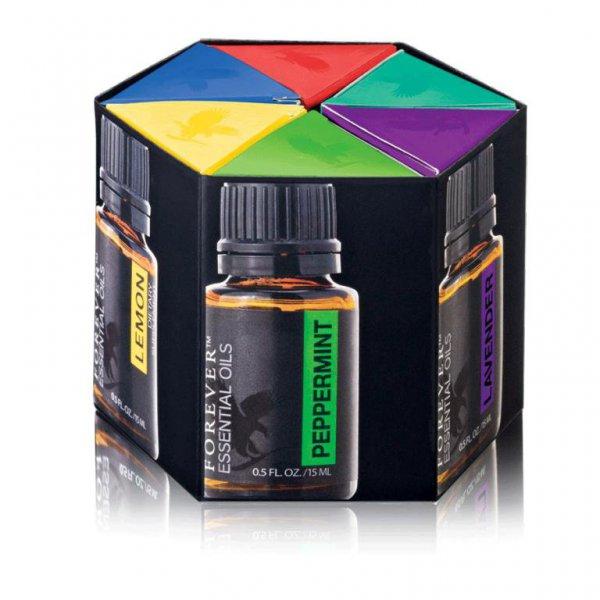 Paquete de Aceites Esenciales de Forever™ te ofrece cada una de las notas individuales, además de las combinaciones, para que te sumerjas en una completa experiencia con aceites esenciales.