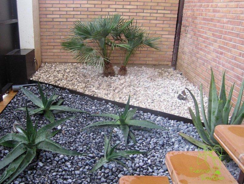 decoración en entrada de vivienda. Detalle de jardinería