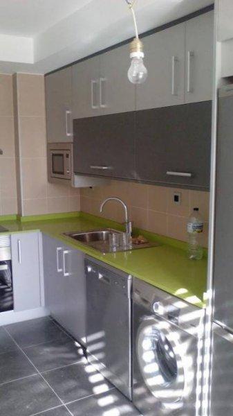 muebles de cocina en melaminico gris con canto aluminio