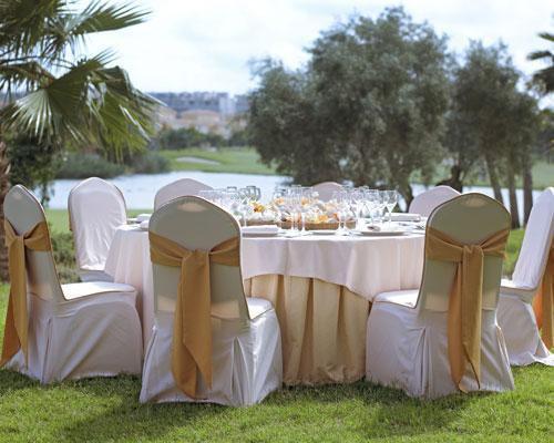 Detalle de banquete al aire libre