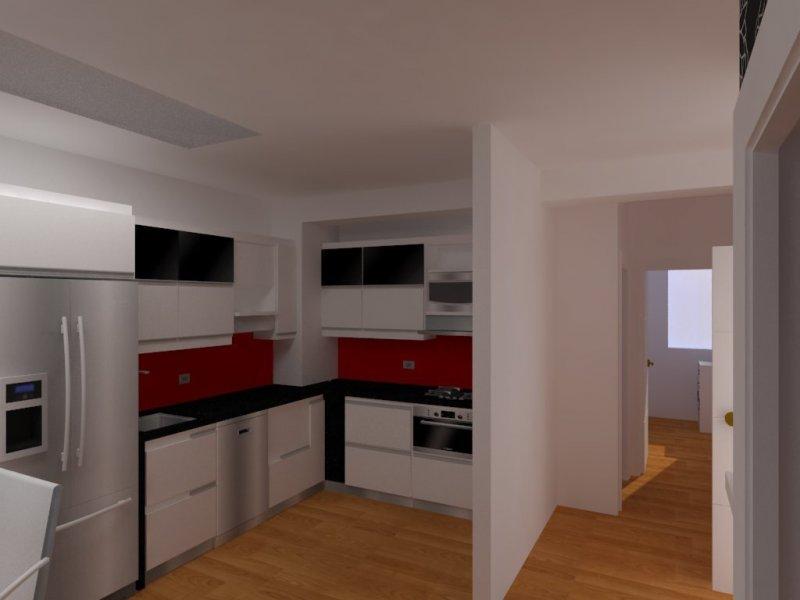 diseño cocina piso 3D Coruña