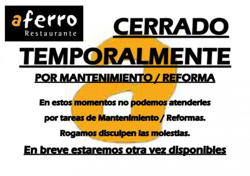 Cerrado Temporalmente por mantenimiento / reforma