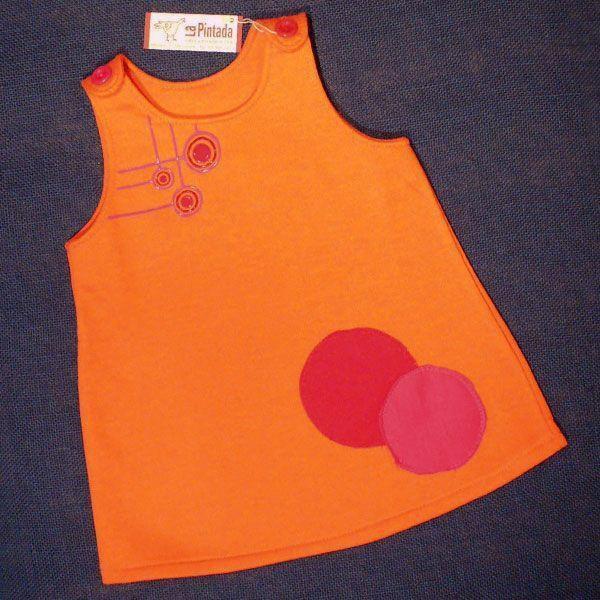 vestido redondas naranja
