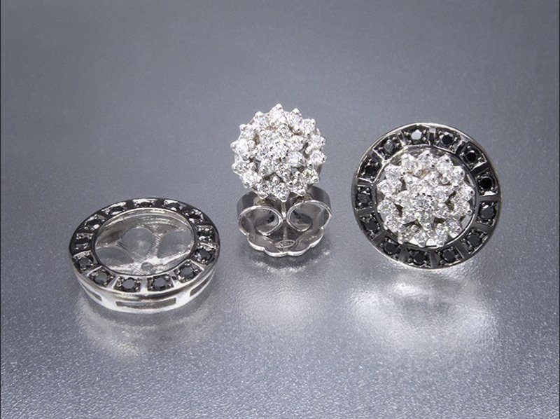 Pendientes desmontables de oro blanco, diamantes white and black