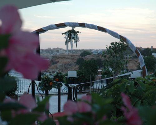 Montaje de boda en terraza
