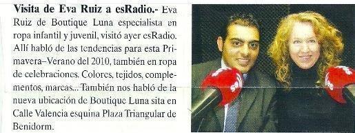 Entrevista En Radio y Repercusion en Prensa Local, sobre Boutique Luna