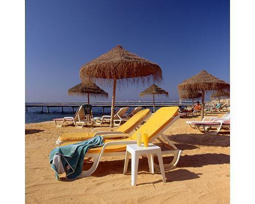 Playa con tumbonas