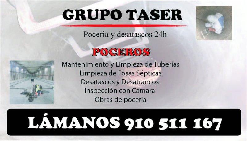 Poceros Madrid. Desatascos Taser 24h 910511167