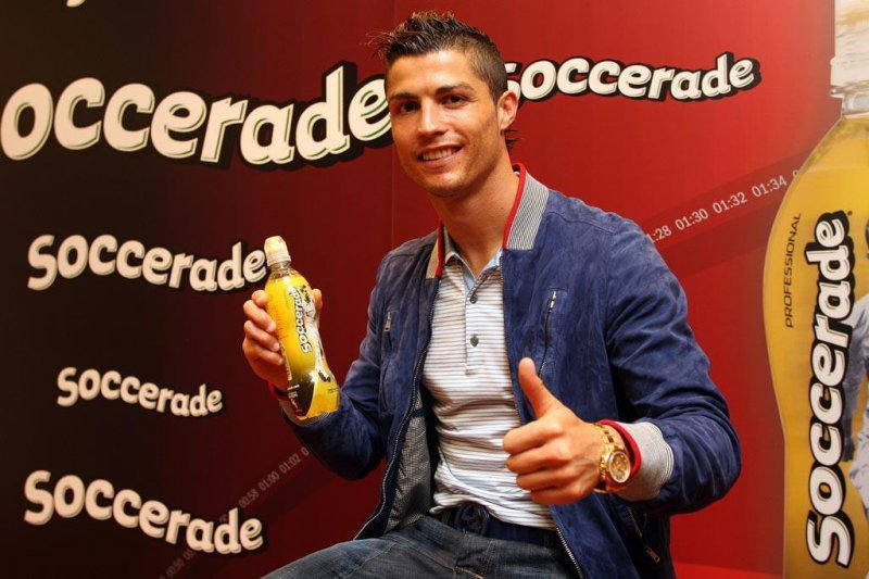 Cristiano Ronaldo en la presentación de la bebida Soccerade Pro