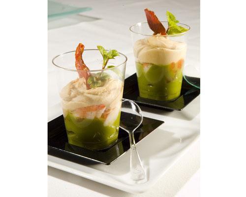 Guacamole con mouse de foie y tartar de langostinos