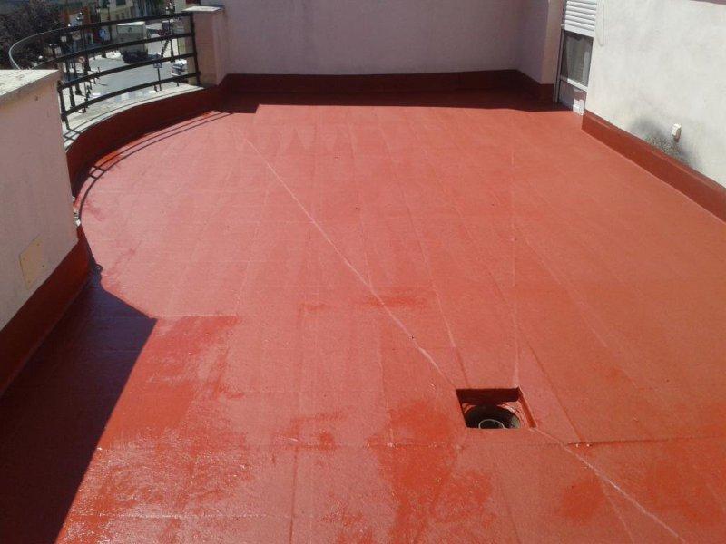 Impermeabilizacion terraza en Pedro Muñoz con caucho tres manos y fibra de vidrio