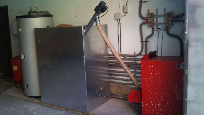 Instalación de calefacción por pellets (vista conjunto).