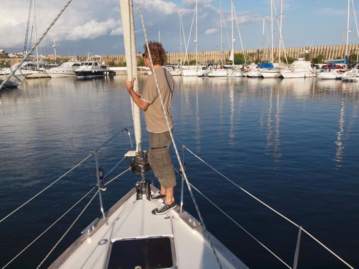 Sailing along Barcelona Coast