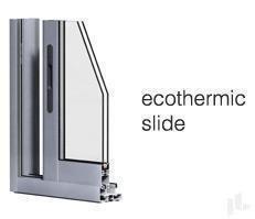 ECOTHERMIC Slide corredera de aluminio.  La serie básica de nuestras correderas. Posibilidad de acristalamiento de hasta 25mm. PRESTACIONES: Aire- 3 / Agua- 7A / Viento- C3 / Ruido- 33dbA. Mejores prestaciones obtenidas: 1'8 W/mK. Marco de 70mm