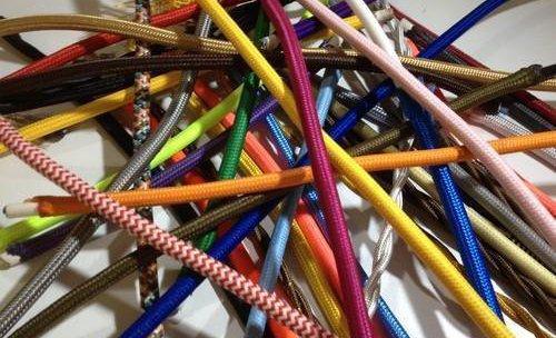 cables de colores foorado en tela