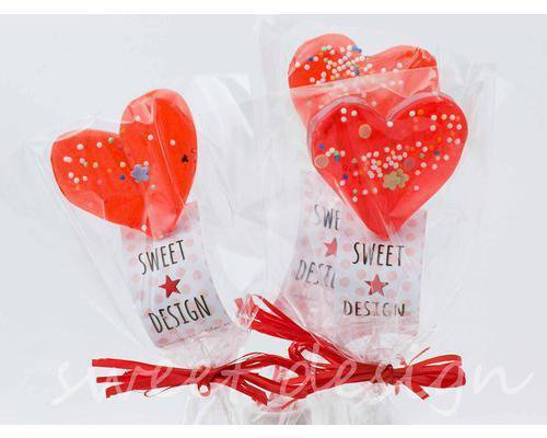 Piruletas de corazón decoradas