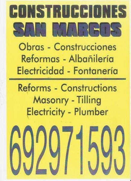 Fontaneria Electricidad Albañileria Pintores Escayola Impermeabilizaciones fachadas pared Construcciones reformas obras