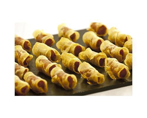Chips de patata rellenos de txistorra navarra
