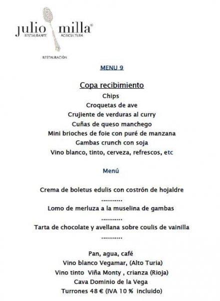 Menús para cenas de empresa, restaurante y catering Julio Milla en Valencia