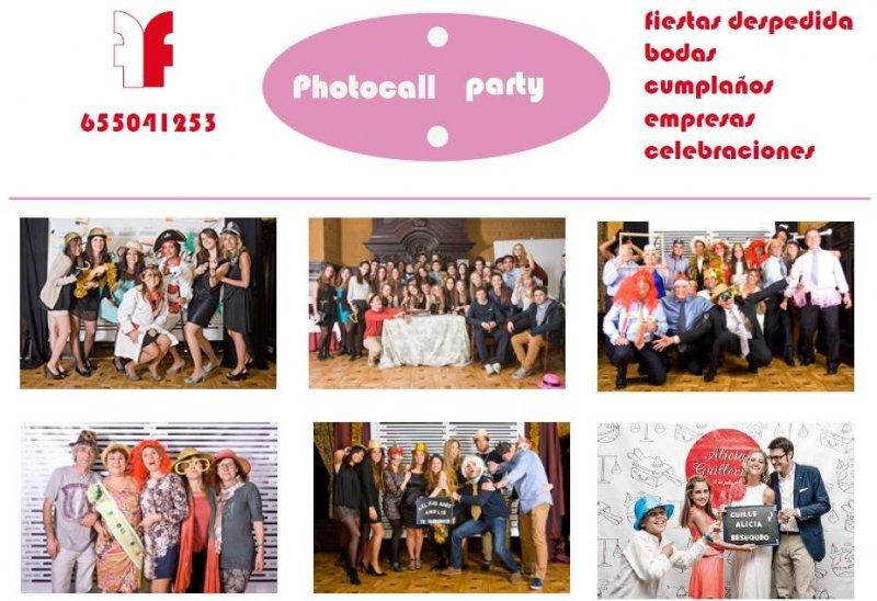Photocall para eventos: fotografías de recibimiento de invitados; fotografías durante la fiesta; disfraces y fondo de escenario, DVD personalizado. Todo por 150€.