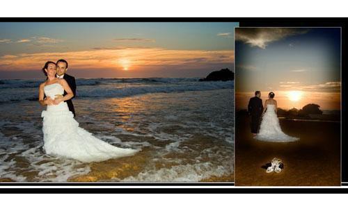 Al atardecer, con los novios románticos en la playa