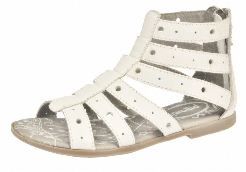 Sandalia romana blanca en piel Billowy niña.