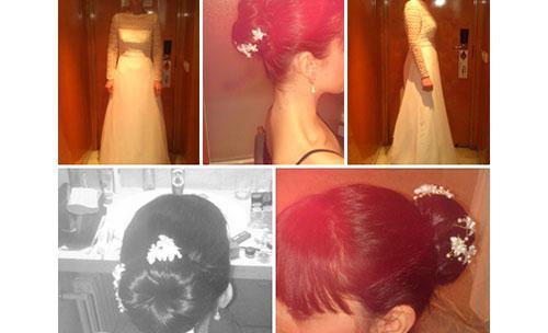 Pruebas del peinado para una novia