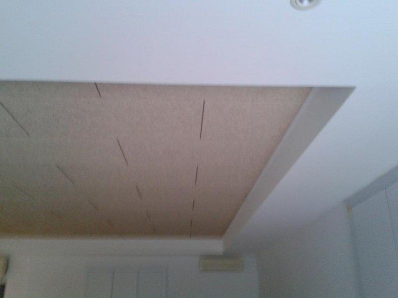Falso techo desmontable de viruta de madera y tabica y faja perimetral de PYL.