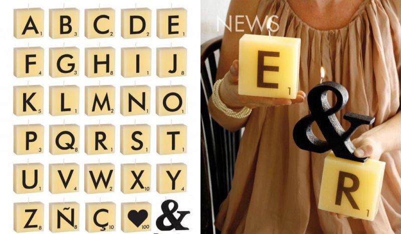 venta de velas decorativas Scrabble