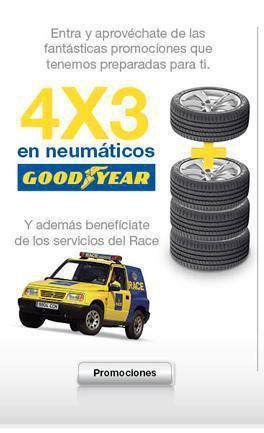Ahora tus neumaticos Goodyear 4x3 y ser socio del RACE gratis