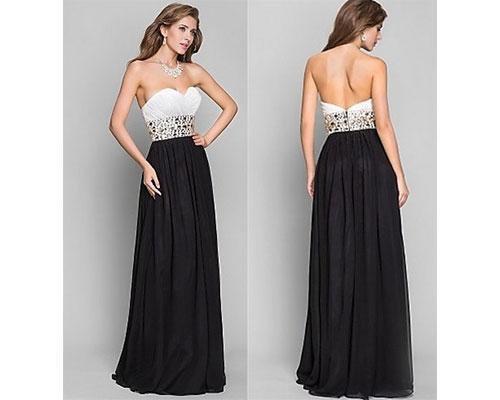 Vestido palabra de honor con falda negra