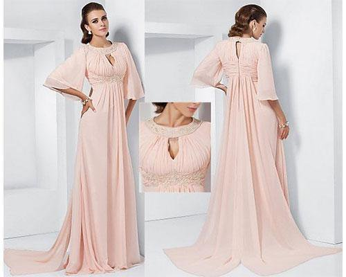 Vestido rosa con mangas