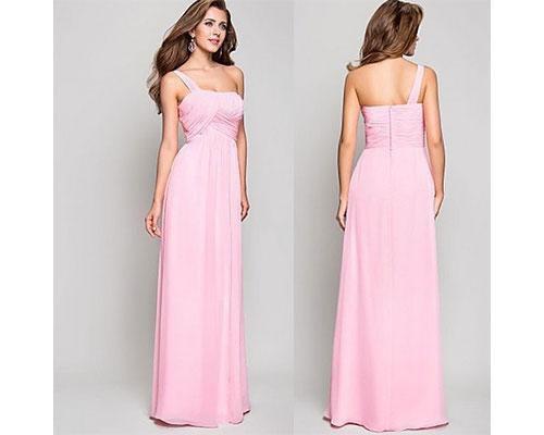 Vestido rosa con un tirante