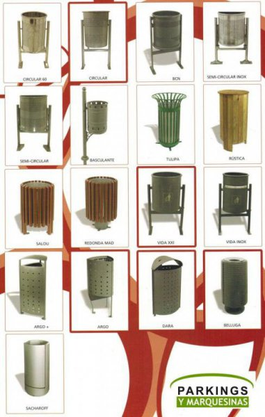 Papeleras metálicas para mobiliario urbano