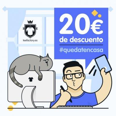 20 euros de descuento para tu próximo pedido con Teefactory si subes una foto a redes sociales diseñando tus camisetas.<br /><br />¡Solo tienes que etiquetarnos y el descuento es tuyo!<div><br /></div><div>+info y condiciones:https://teefactory.es/promoc