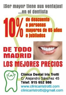 <div> Clínica Dental Madrid Dra. Iris Trotti  Teléfono: 91 565 2986 Móvil : 656 312 075 (LLAMADAS Y WHATSAPP)</div><div> Dirección: Calle Alejandro Sánchez, 45    Bajo A  Madrid   28019  </div><div>Si eres MAYOR de 65 años de edad (o estás jubilado) tie